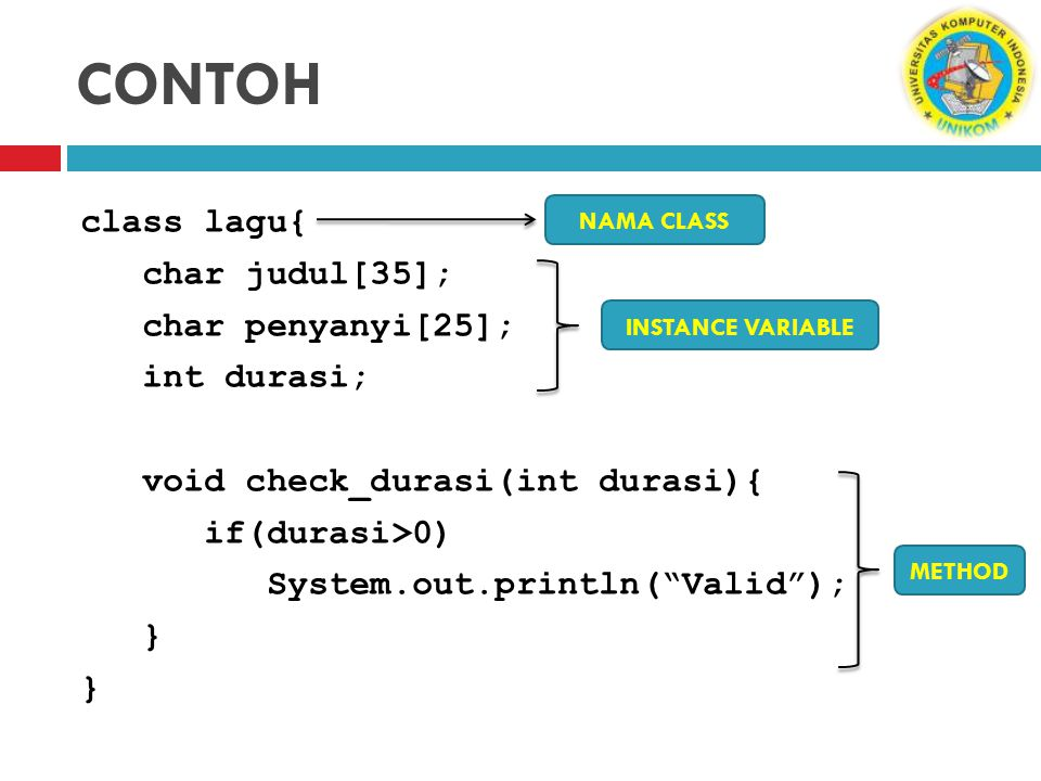 CONTOH class lagu{ char judul[35]; char penyanyi[25]; int durasi; void check_durasi(int durasi){ if(durasi>0) System.out.println( Valid ); }